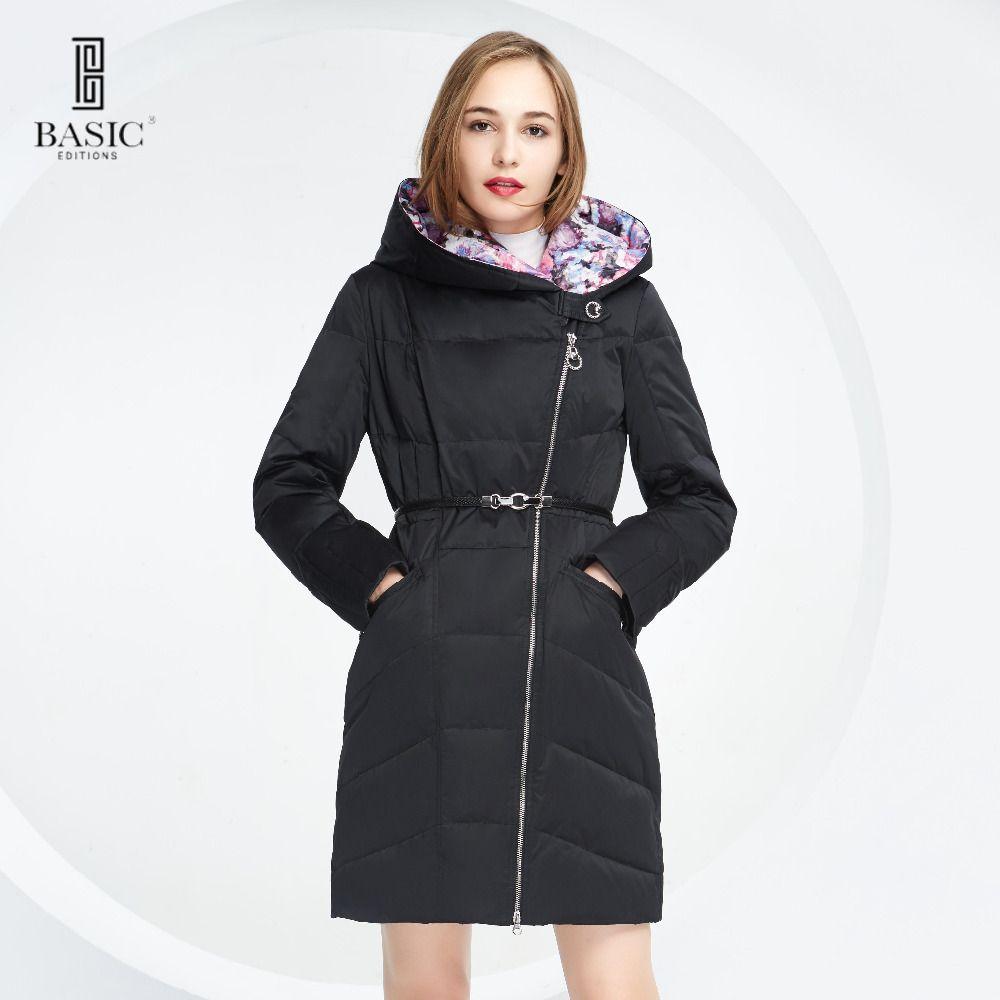 Ediciones básicas Mujeres Otoño Invierno Slim Fit Estilo Cinturón de Cremallera y Capucha Down Jacket Coat-14W-05