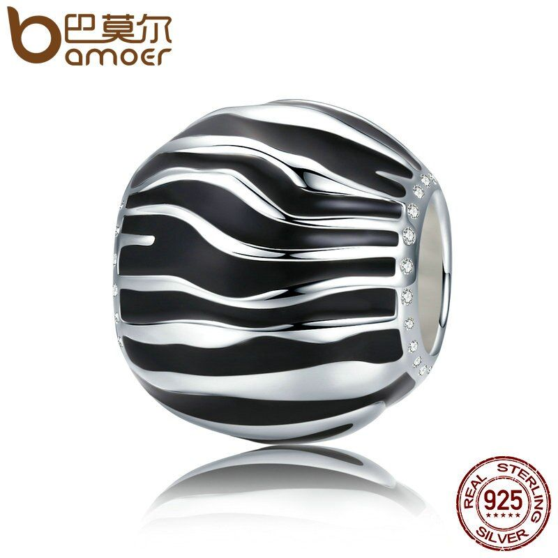 BAMOER 100% 925 Sterling Silver 2 Style Fleeting Time Black & White Enamel Beads fit Women Bracelets Necklaces Jewelry SCC295