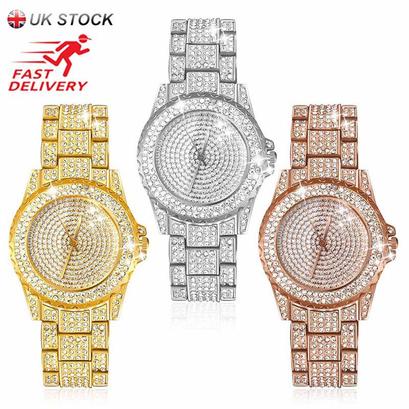 JUBAOLI New Luxury Women Watches Rhinestone Crystal Wristwatch Lady Dress Watch Men's Luxury Analog Quartz Watches Relogio