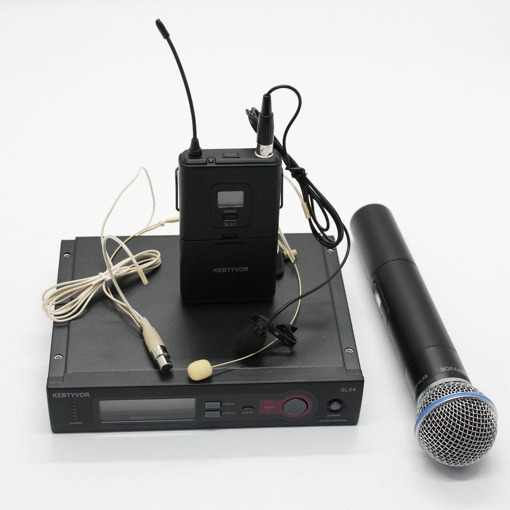 UHF PRO SLX24/SLX14/BETA58 SANS FIL SYSTÈME de MICROPHONE + De Poche + Revers + casque Mic pour la Phase