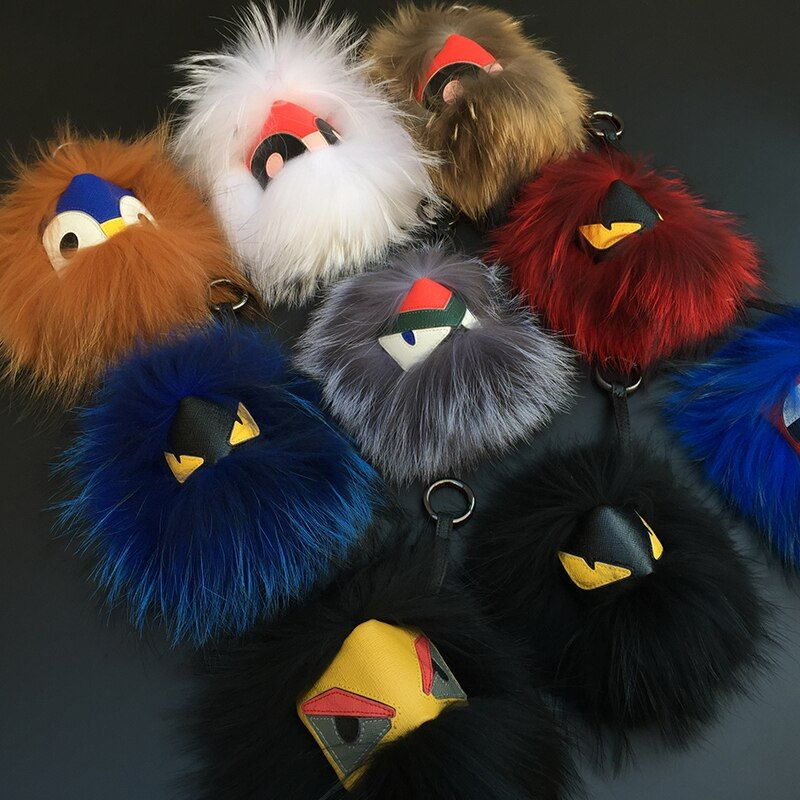 18 cm Fluffy Real Fur Pom Poms Bug Little Monster Bag <font><b>Charm</b></font> Genuine Pompom Keychain Luxury Car Jewelry Pendant F388