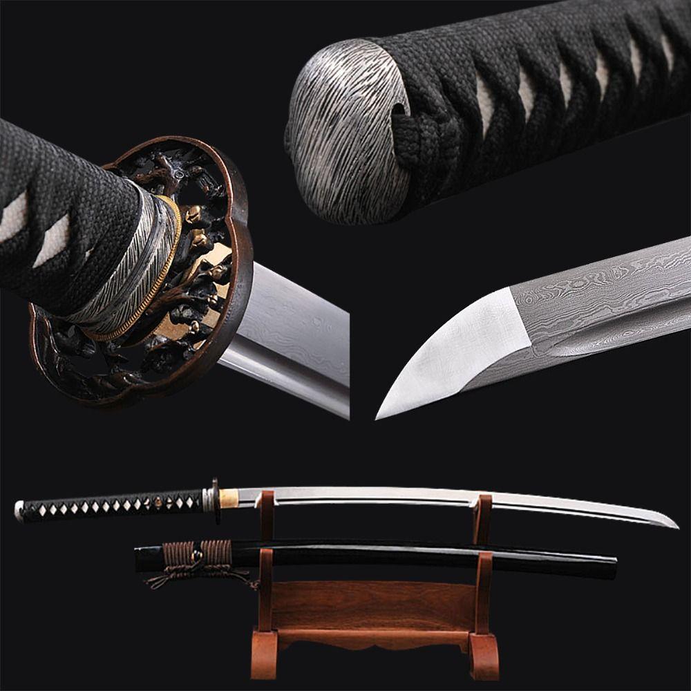 Fully Handmade Japanese Samurai Sword Damascus Folded Steel Full Tang Blade Aikido Training Sharp Edge Espad Vintage Home Decor