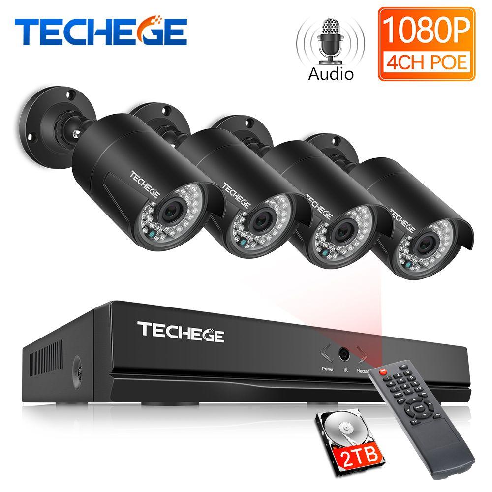 Techege 4CH 48V PoE NVR POE System Audio Record 2.0MP Onvif PoE IP Kamera Wasserdicht Remote View XMEye Überwachung CCTV System
