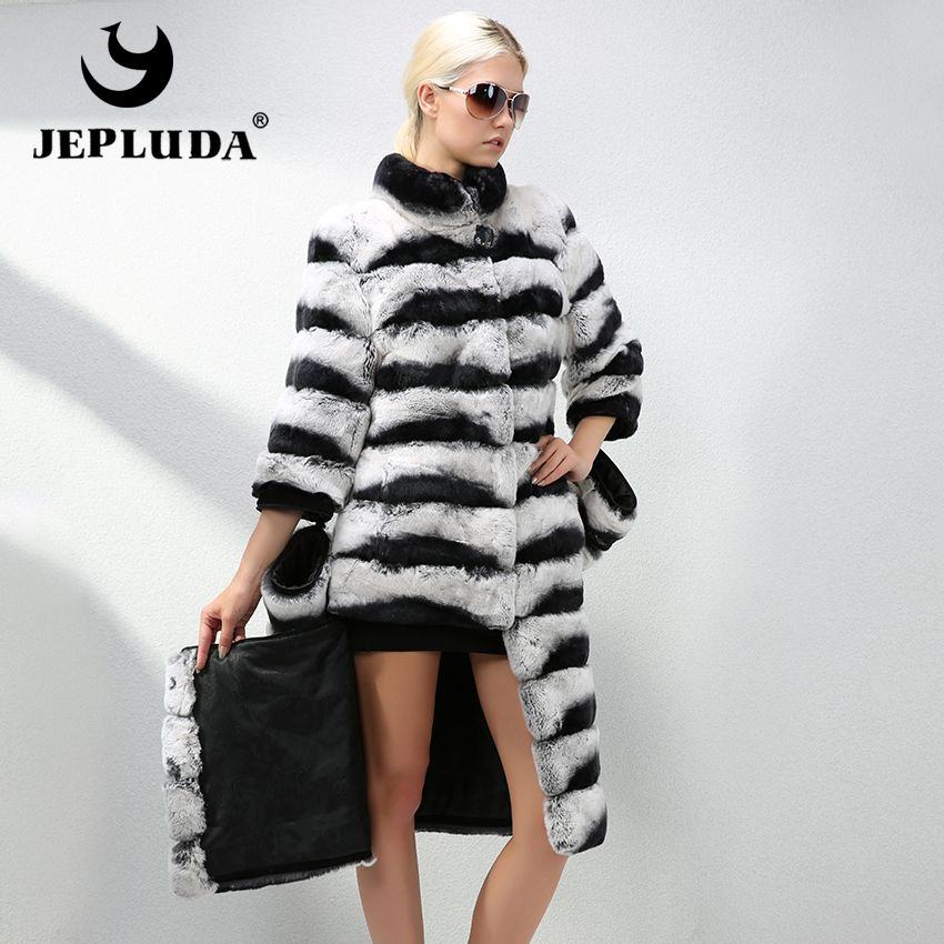 JEPLUDA Luxurious Women Long Style Natural Real Rex Rabbit Fur Coat Changeable Sleeve Hem length Real Fur Coat Warm Fur Jacket