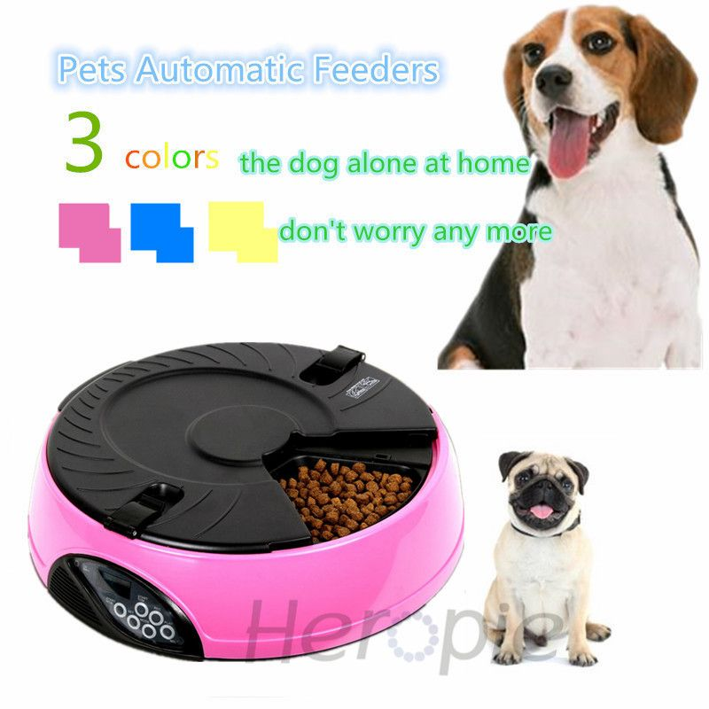 Heropie Pet supplier Pet Dog Cat automatic feeders 6 Meals High Quality LCD Digital Automatic Recorder Bowl Meal Dispenser
