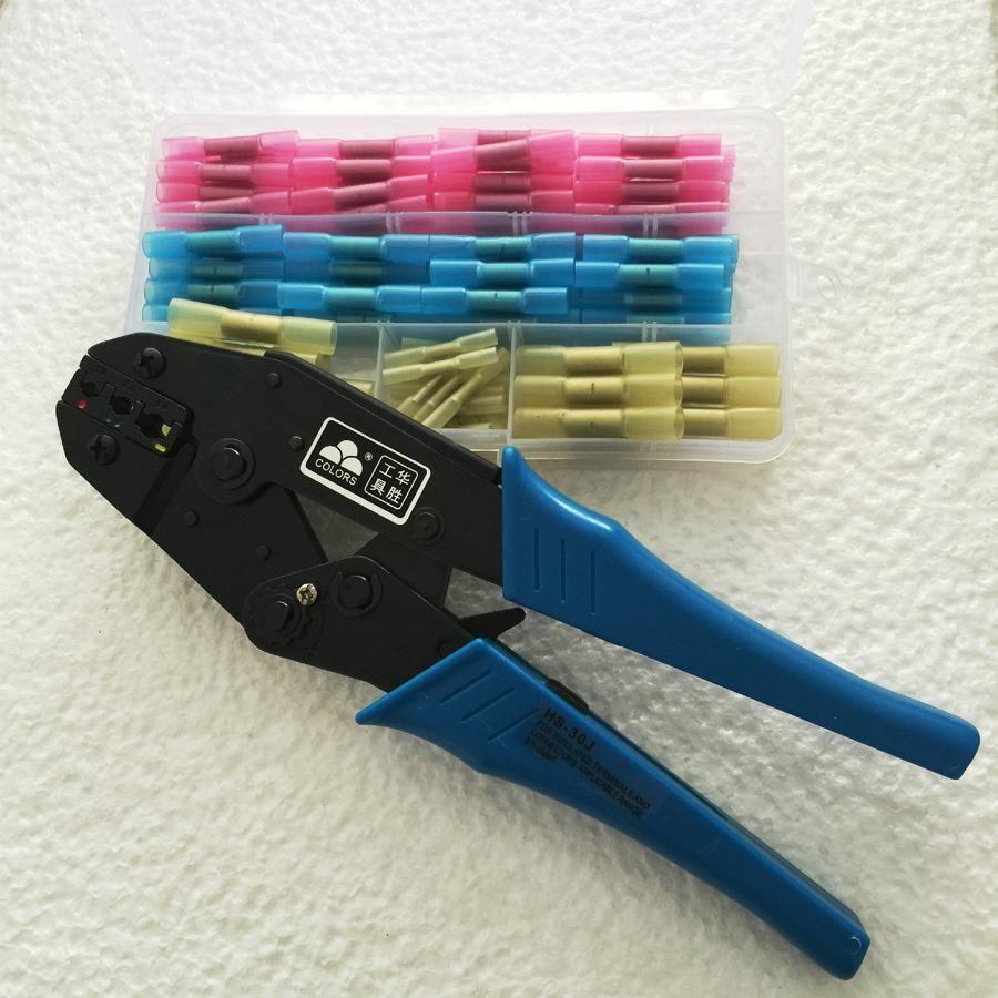 HS-30J Abisolierzange Ratsche Crimpzange Zange 0,5-6.0mm2 Multi Tool + 1 Box ofTerminals Stoß Steckverbinder 128 stücke