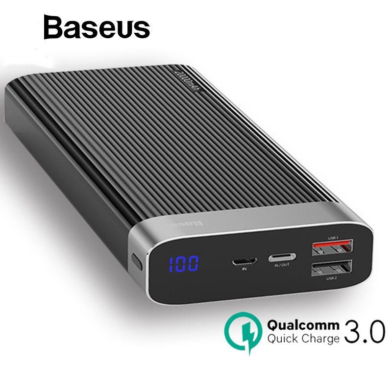 Baseus Tragbare 20000 mah Power Bank Quick Charge QC3.0 Power Mobile Externe Batterie Pack Dual USB Power Bank für iPhone X