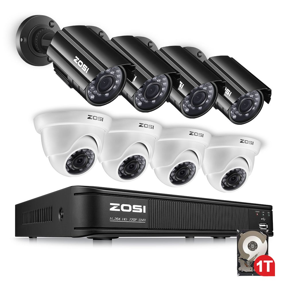ZOSI 1080N HDMI DVR 1280TVL 720P HD Outdoor Home Security Camera System 8CH Video Surveillance DVR 1TB HDD TVI CCTV Kit