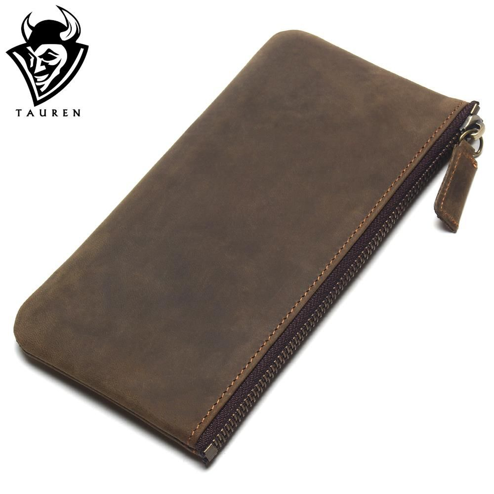 TAUREN 2018 New Men's Slim Wallets Crazy Horse Leather Simple Clutch Leather Hand Grasping Coin Purse Mobile Phone Packet