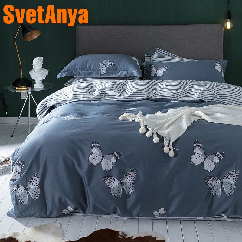 Svetanya Butterfly Print Egyptian Cotton Bedding Sets Bedsheet Pillowcases Duvet cover set Twin Queen King Double Size Gray