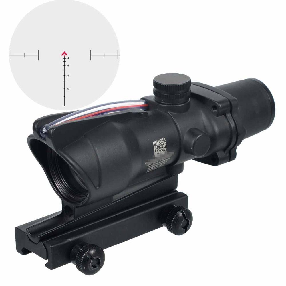 Jagd Zielfernrohr ACOG 4X32 Fiber Echt Optik Rot Grün Beleuchtet Chevron Glas Geätzt Absehen Tactical Optische Anblick