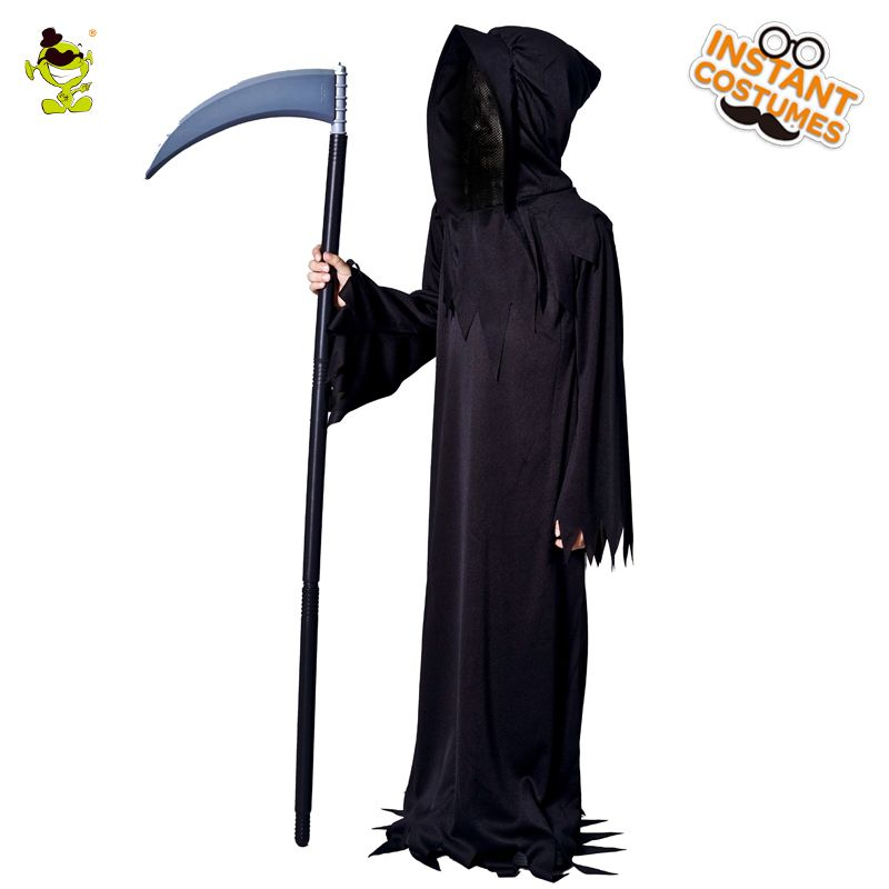 Boys Grim Reaper Costumes Kids Scary Devil Role Play Fancy Dress Halloween Masquerade Party Monster&Demon Disguise Clothing
