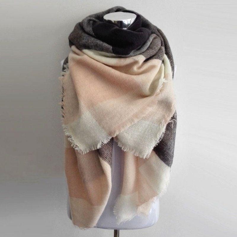 Za hiver grande écharpe carrée Plaid femmes écharpe unisexe acrylique châles couverture chaude écharpes bufandas marque de
