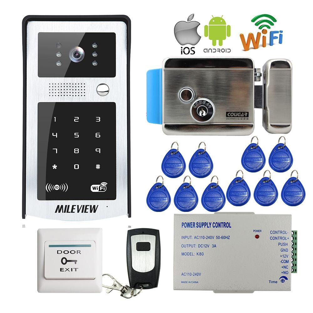 KOSTENLOSER VERSAND RFID Code Tastatur Wifi 720 P Video-türsprech Intercom Außenglocke für Android IOS Telefon + Elektrische Steuerung schloss