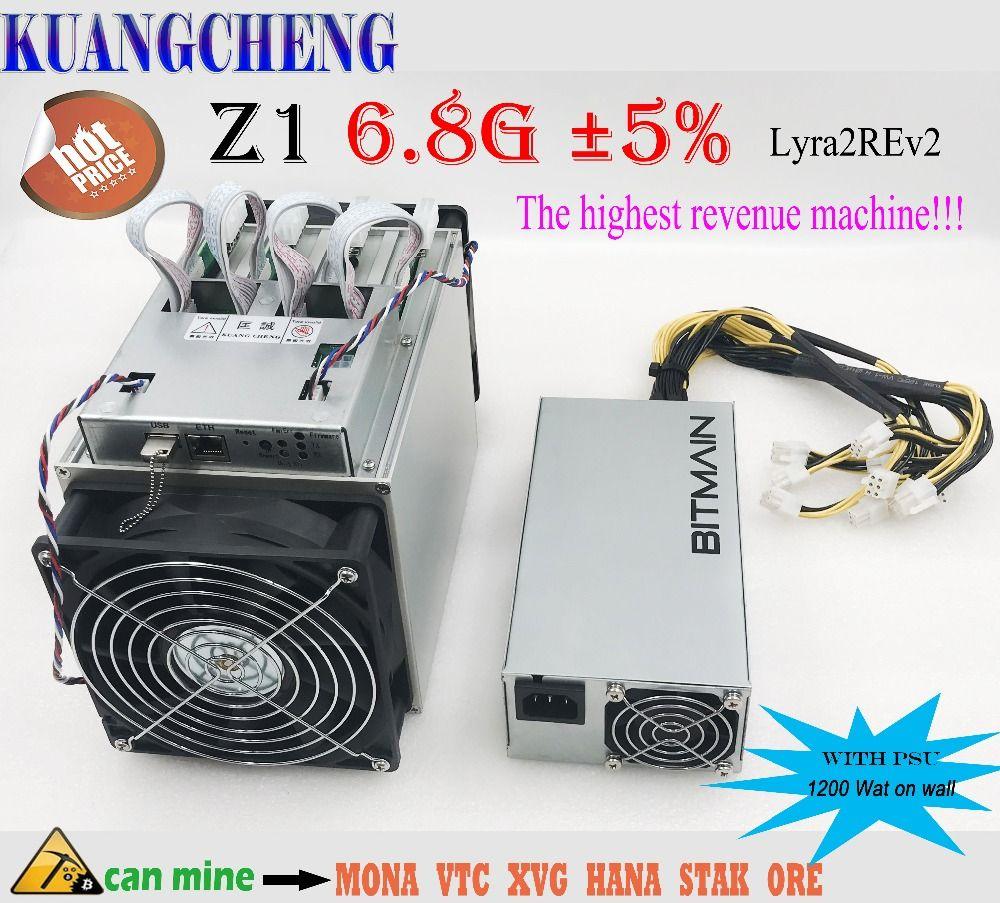 KUANGCHENG Lyra2REv2 ASIC miner Zig Z1 6,8G Mit bitmain APW3 + + netzteil ergebnis höher als Antminer Z9 mini, whatsMiner M3