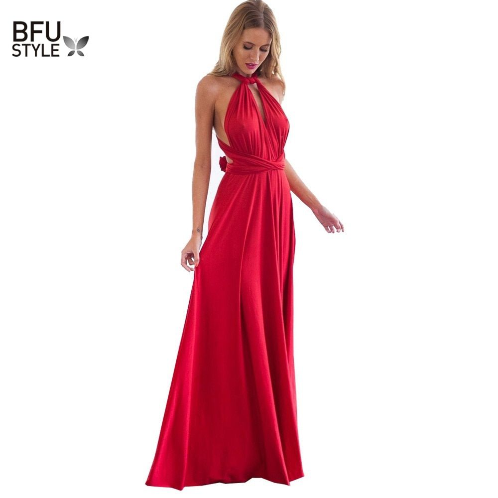 Sexy Women Boho Maxi Club Dress Red Bandage Long Dress Party Multiway Bridesmaids Convertible Infinity Robe Longue Femme 2017