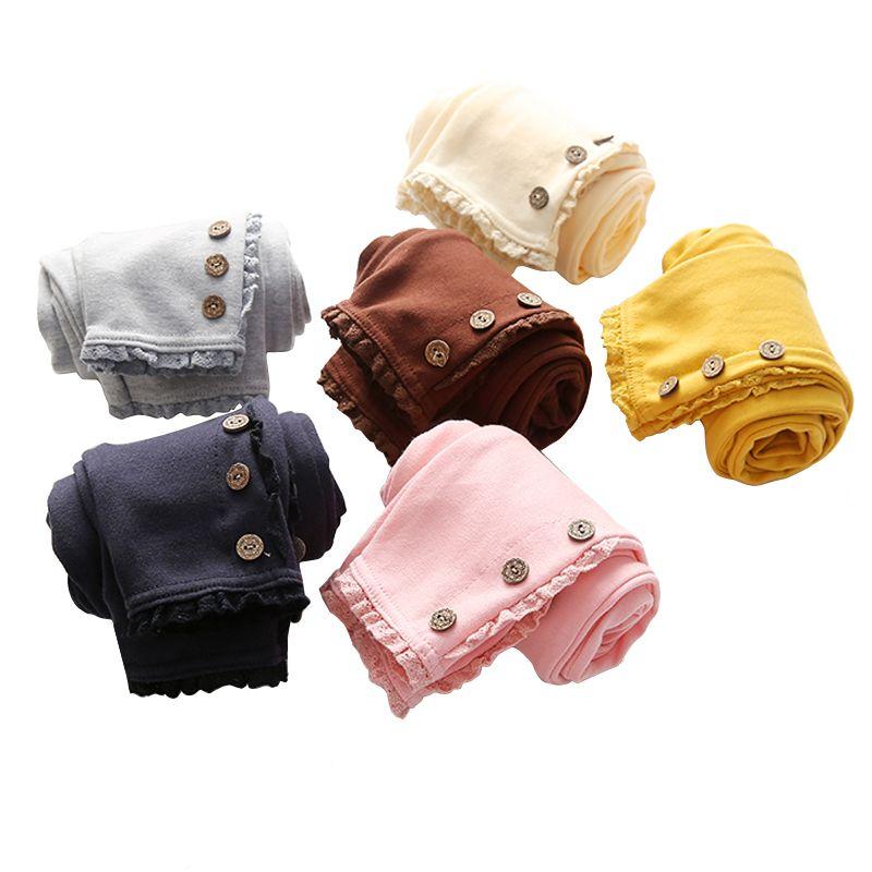 2019 Korean winter autumn Baby Girls Kids Pure Color 3 Buttons Legging Children's Clothing Lace Cotton Trousers Dance Pants
