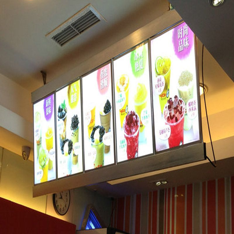 (5 Graphics/column) Single Sided Slim Led Menu Light Box, Led Menu Board,Menu System Slim Lightbox for Hotel,Restaurant