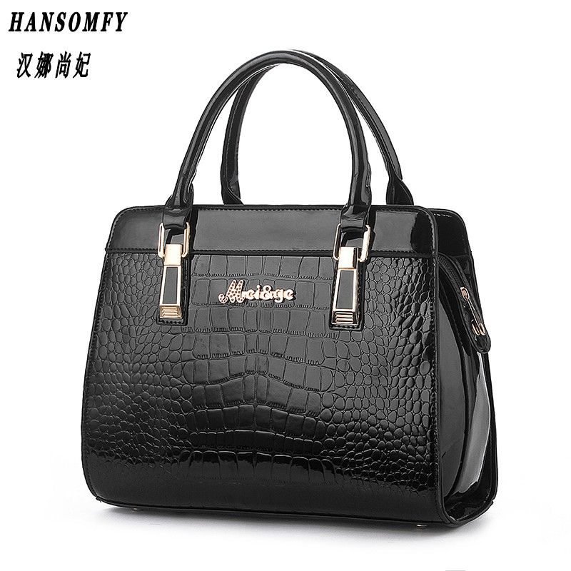 100% Genuine leather Women handbags 2017 New Crocodile Fashion Shoulder Bags European style atmosphere woman Messenger bag