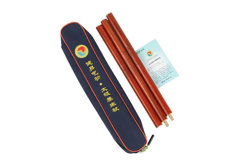 High quality Rosewood/bamboo Tai Chi sticks without cap 1.2M 3 segments China Health Qigong Association Taiji yang sheng zhang