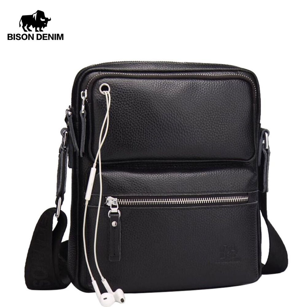 BISON DENIM Genuine Leather Men's Bag Brand Black Business Male Messenger bags Man Crossbody Bags For Men ipad N2533