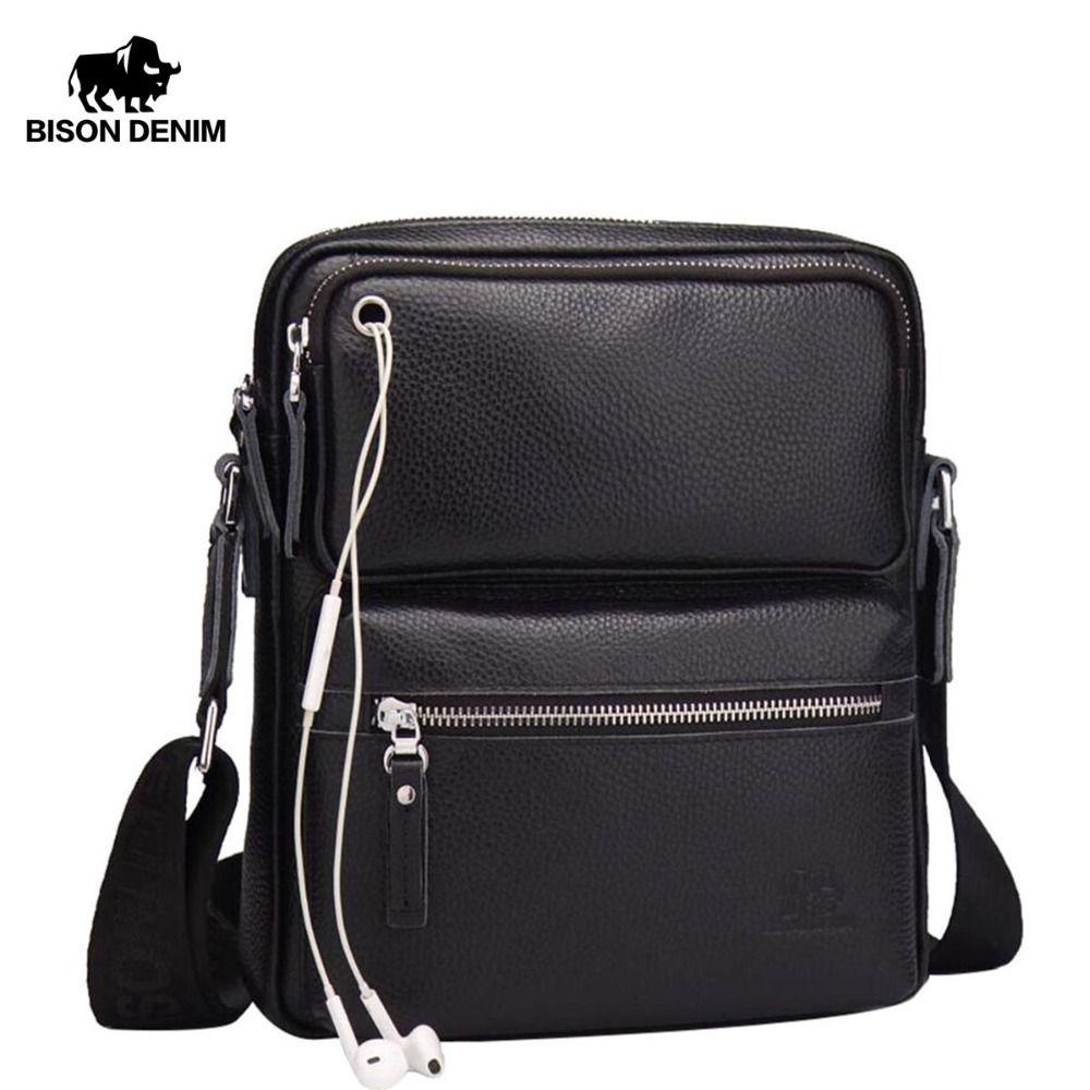 BISON DENIM Genuine Leather Men's Bag Brand Black Business Male Messenger bags Man Crossbody Bags For Men ipad N2533
