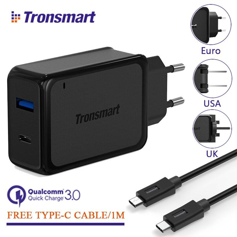 [2 Ports] Tronsmart W2PTU Charge Rapide 3.0 USB Chargeur avec USB Type C pour Xiaomi pour LG G5 Rapide Téléphone Chargeur Adaptateur UE US ROYAUME-UNI