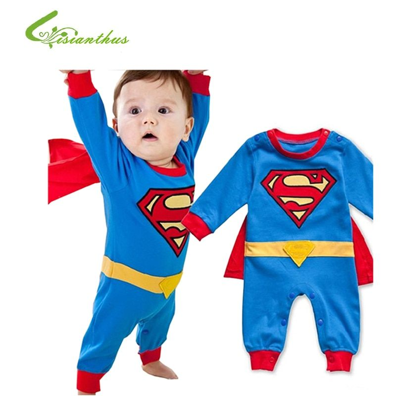 Baby Boy Romper Superman Long Sleeve with Smock Halloween Christmas Costume Gift Boys Rompers Spring Autumn Clothing Free Ship