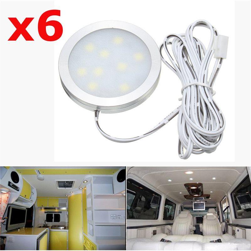6Pcs 12V 2.5W Car Interior LED Spot Lights Slim Flush For VW T4 T5 Transporter/Camper Van Boat White
