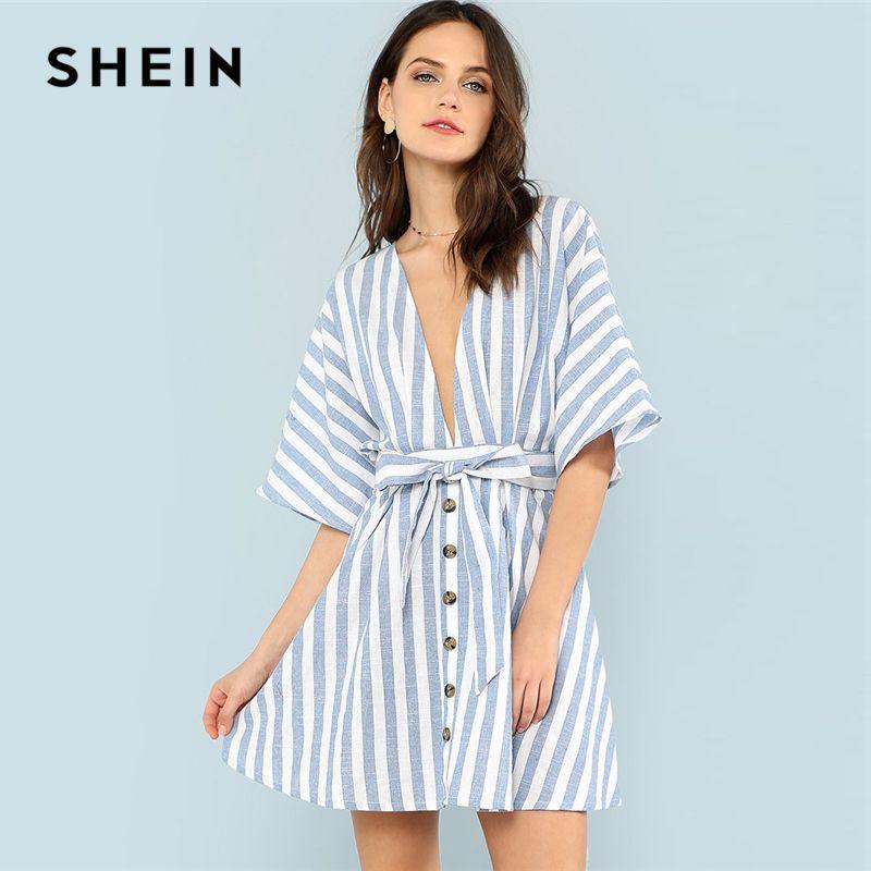 SHEIN Deep V Neck Button Front Striped Dress 2018 Summer <font><b>Blue</b></font> Striped Half Sleeve Dress Women Batwing Sleeve Belt Halter Dress