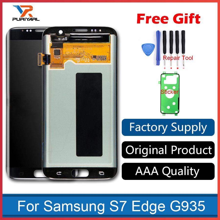 AAA Qualität Original Super AMOLED Bildschirm Für Samsung Galaxy S7 Rand LCD Display G935F G935FD Montage Ersatz + Geschenk