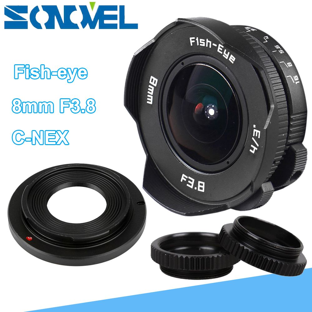 8mm F3.8 Fish-eye CCTV Lens Manual Wide Angle Fisheye Lens Focal length Fish eye Lens Suit For Sony E Mount A7R A7S A6300 A6500