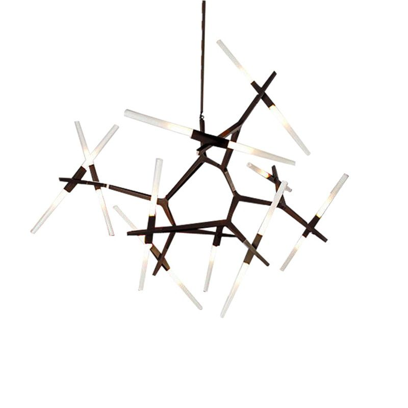 wongshi Modern Dual Tube Branch Arts Pendant Lights Italian Design Personality Living Room Restaurant Lamps fixtures