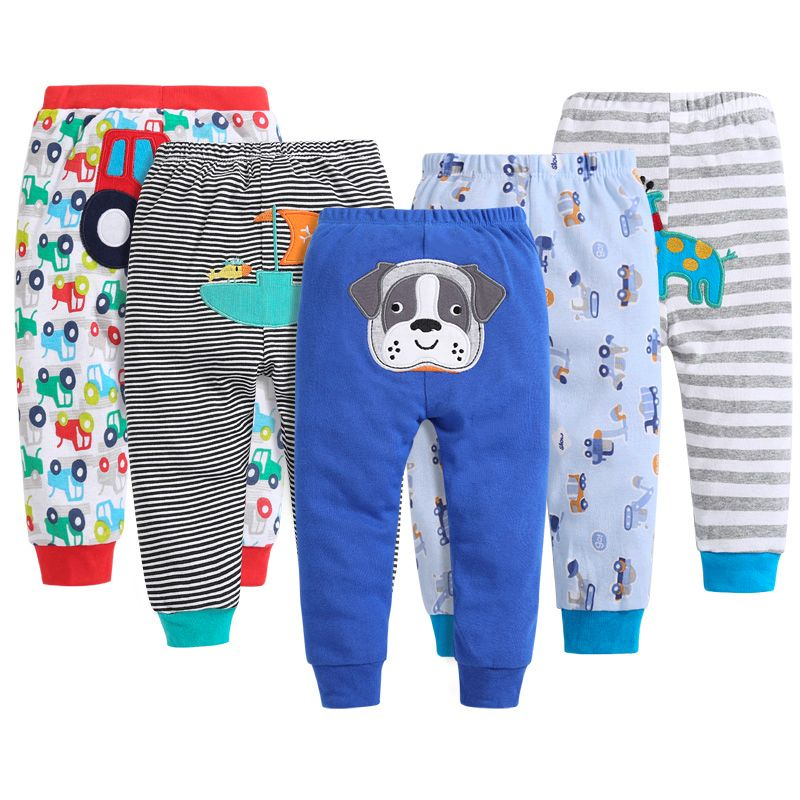 5pcs / Lot Baby Gril Pants Embroidered Animals Baby Pants 100% Cotton Infant Trousers Children's Pants Baby Clothing Sets V55