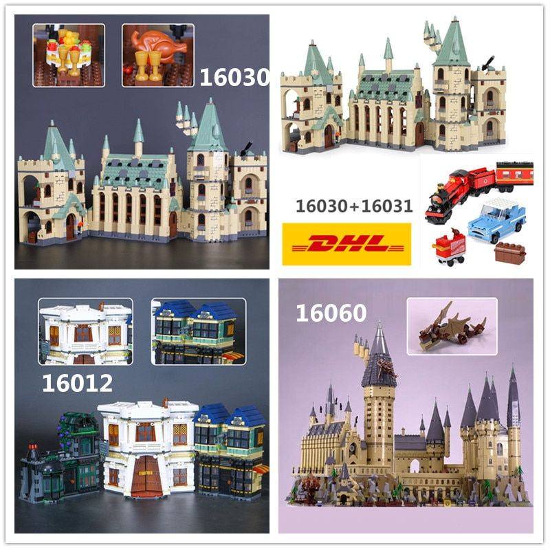 DHL H&HXY 16030 16012 16031 16060 Harry Magic Potter Hogwarts Castle School LEPIN Model Building Block 4841 4842 10217 71043