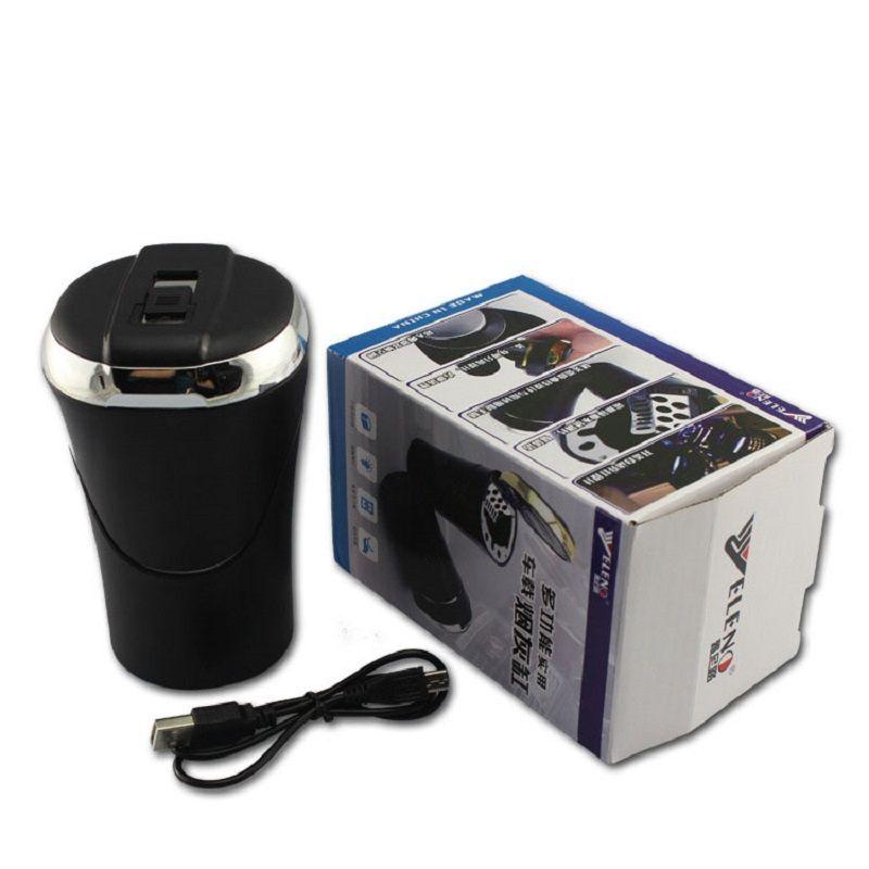 Detachable 2 In 1 Set Cigarette Lighter Car Cup Holder Cigarette Ashtray Led Light Travel Portable Car Ashtray