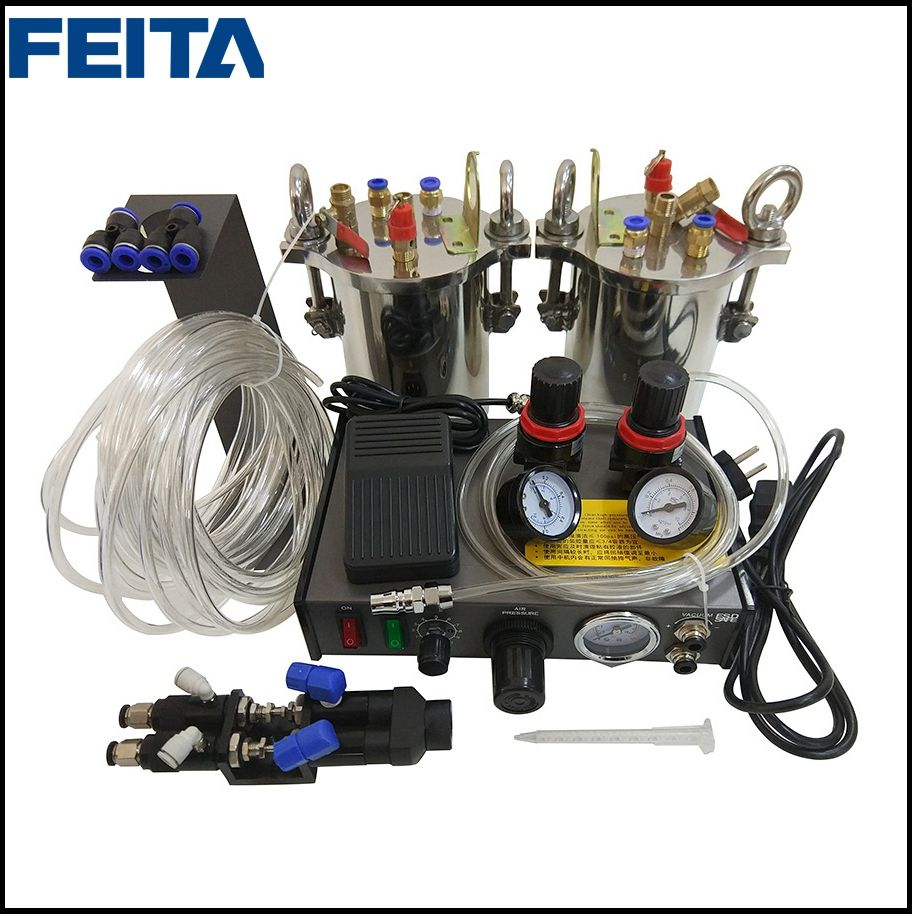 FEITA Semi-auto Glue Dispenser A B Mixing Doming Liquid Glue Dispensing Machine Equipment for LED Light DIY LCD Sticker