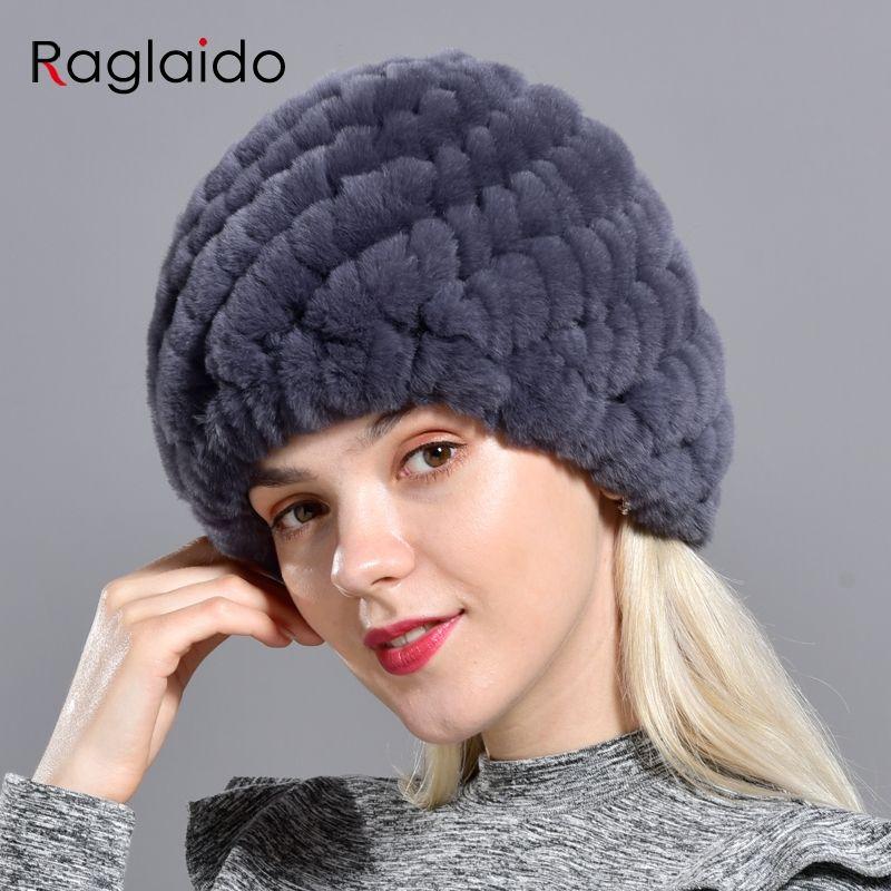 Raglaido lapin hiver fourrure chapeau pour les femmes russe réel fourrure tricoté casquette chapeaux hiver chaud Beanie chapeaux 2019 marque de mode LQ11279
