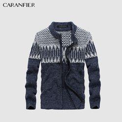 Caranfier Musim Dingin Pria Rajutan Cardigan Sweater Pria Katun Kasual Sweater Turtleneck O-neck Slim Fit Pria Rekreasi Christmas Style