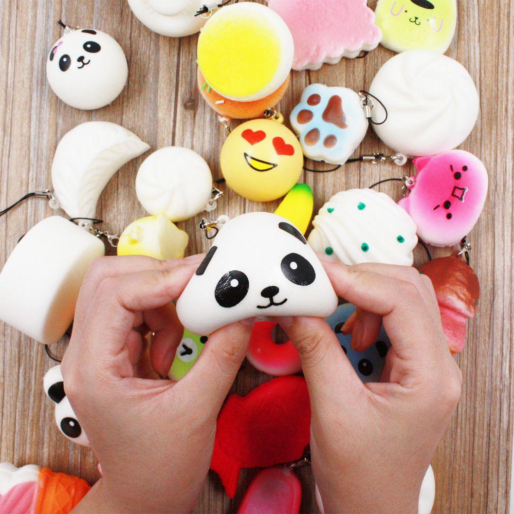 30 pcs DIY Mignon Mini Kawaii Kawaii Visqueux Jumbo Panda Bun Lente Hausse Visqueux Mignon Doux Mini Pain/Gâteau/Crème glacée Téléphone Sangle