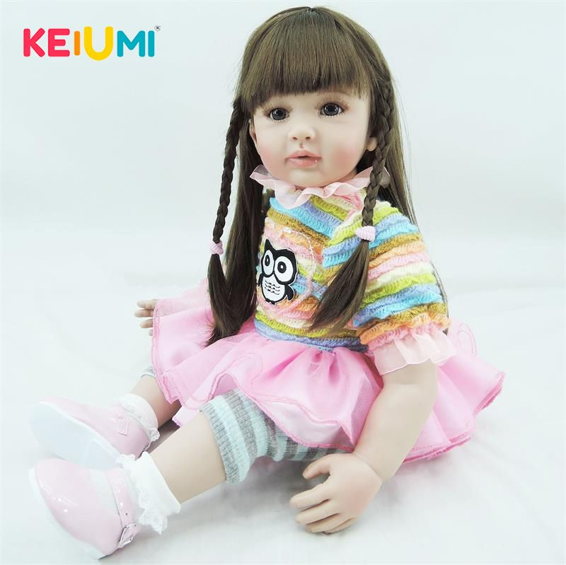 KEIUMI 60 cm Soft Silicone Reborn Baby Dolls Realistic 24 Inch Princess Girl Baby Doll For Children Christmas Gifts Kid Play Toy