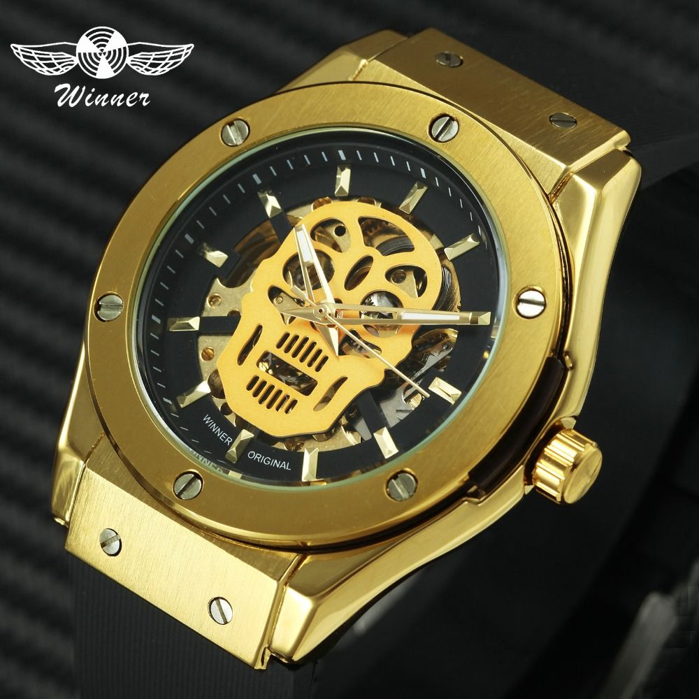 WINNER Fashion Sports Automatic Mechanical Skull Mens Watches Top Brand Luxury Golden Skeleton Dial Rubber Strap Punk Wristwatch