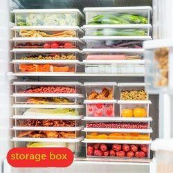 Plástico transparente caja de almacenamiento de alimentos refrigerador de la fruta cocina crisper con tapa caja de almacenamiento sellado