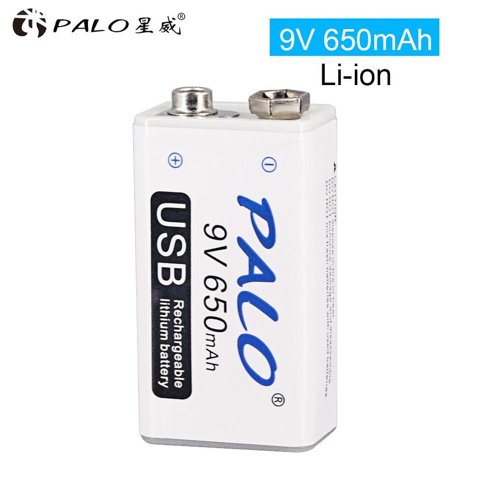 9 V 6F22 650 mAh li-ion batterie Rechargeable 9 v lithium pour multimètre Microphone jouet télécommande utilisation KTV