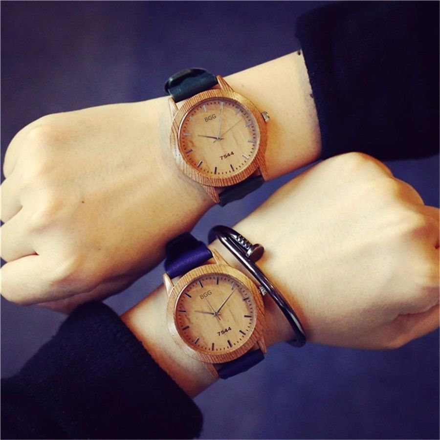 2017 heißer Verkauf Holz Stil Aus Echtem Leder Frauen Uhren Mode Einfachen Holz Quarzuhr Hochwertigen Armbanduhren Unisex Uhr