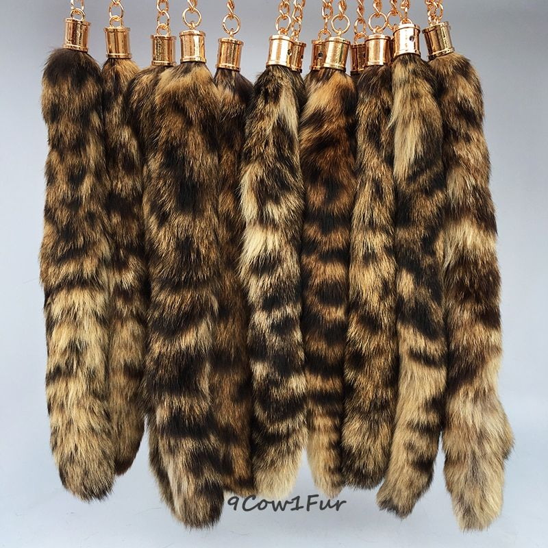 trinket 1pc Real fox tail keychain trinket fur Bag ornaments tag charm keyring fox tail key chain fur pendant Jewelry CF113
