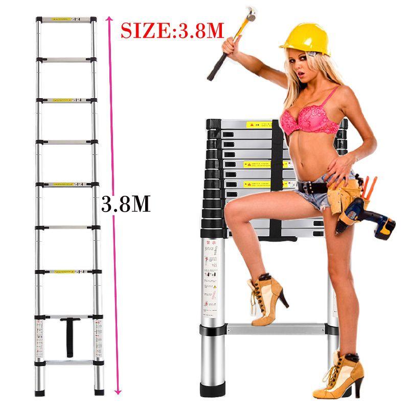 3.8 m Engrosamiento de aleación de aluminio Puertas y Portales de espiga escalera retráctil escalera escalera plegable de múltiples funciones portable