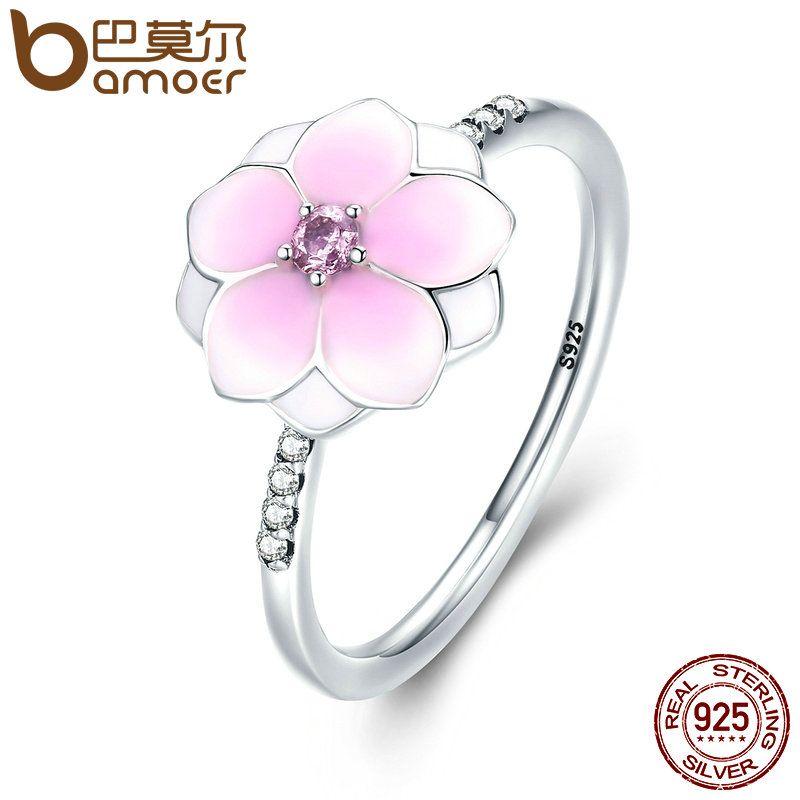 BAMOER Genuine 925 Sterling Silver Magnolia Bloom, Pale Cerise Enamel & Pink CZ Finger Ring for Women Fine Jewelry Gift PA7625