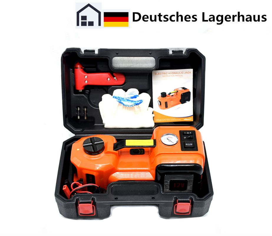 12V DC 5.0T 11023lb Car Electric Hydraulic Floor Jack Tire Inflator Pump and LED Flashlight 3 in 1 Set With Jacks Safe Hammer