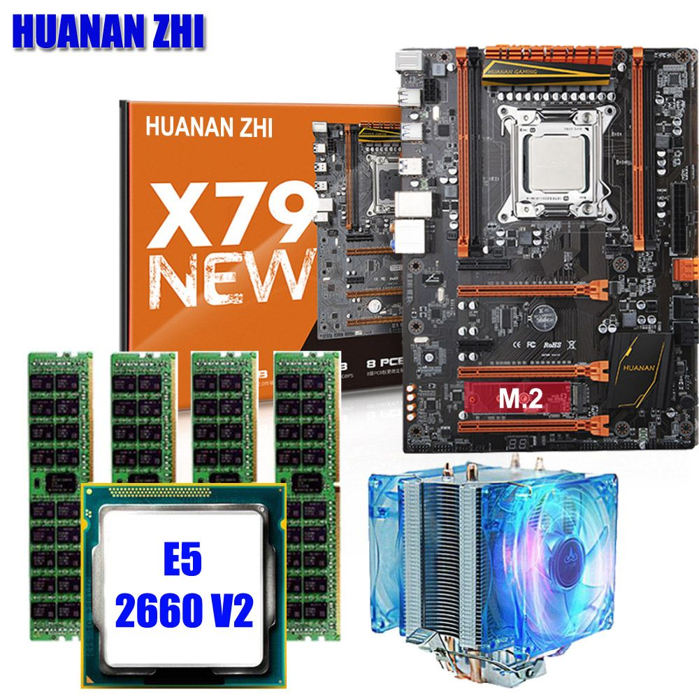 HUANAN ZHI X79 deluxe gaming motherboard CPU RAM with cooler Xeon E5 2660 V2 RAM 16G(4*4G) DDR3 RECC building perfect computer